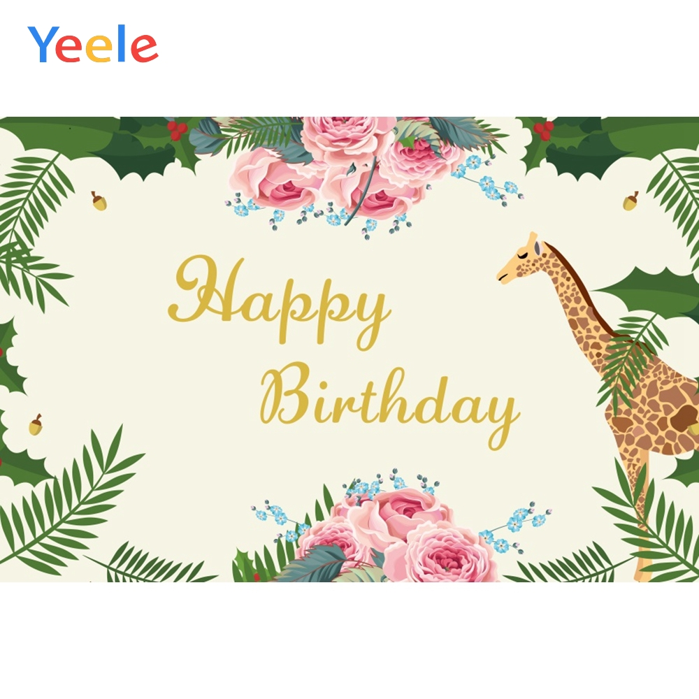 Yeele Tropical Plants Flower Giraffe Summer Birthday Photography Backgrounds Customized Photographic Backdrops for Photo Studio in Background from Consumer Electronics