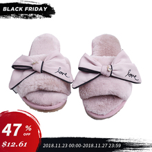 Shoes Women 2018 Winter Home Slippers Warm And Cozy Indoor Faux Fur Soft Doodles Bow Ladies Hot Sale SA21