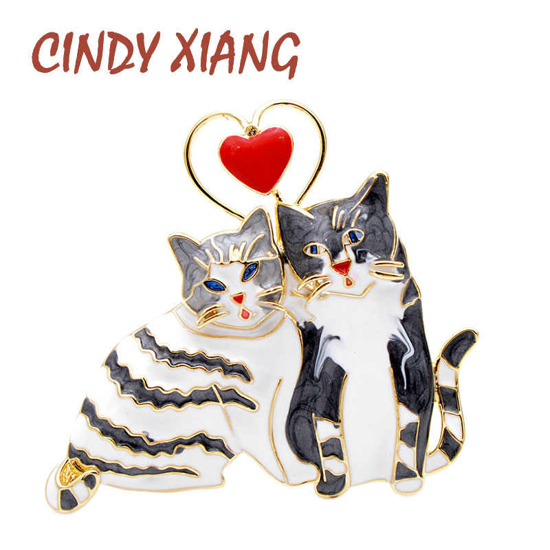 CINDY XIANG 2 Colors Choose Enamel Cat Brooches For Women Cute Double Kitty Pins Fashion Animal Pins High Quality Jewelry
