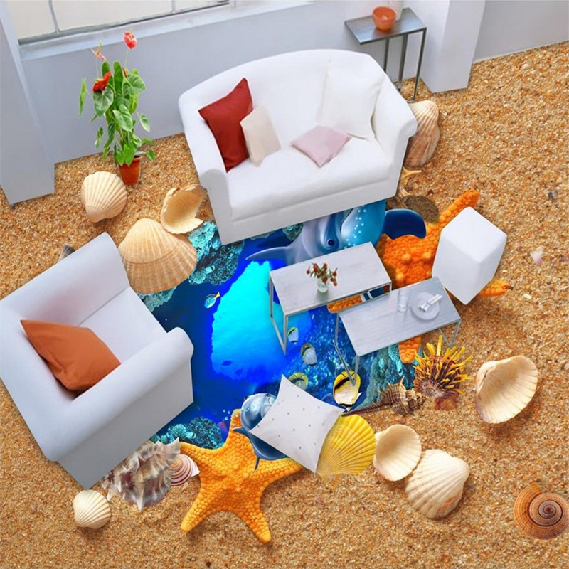 beibehang Photo Floor Self adhesive Dolphin shells Wallpaper Underwater World for Living Room Bedroom Bathroom Mural Wall paper beibehang mural wallpaper 3d stereoscopic creative wall paper for living room bedroom bathroom floor pvc self adhesive sticker