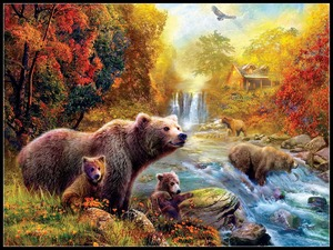 Image 1 - Embroidery Counted Cross Stitch Kits Needlework   Crafts 14 ct DMC color DIY ART Handmade Decor   Bears at the Stream