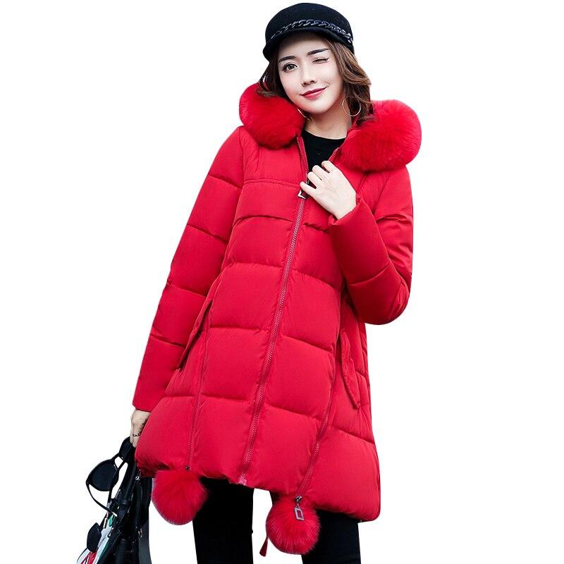 2017 Winter Fashion Jackets Women Parka Jacket Female MediumLong Parka Fur Hood Coat Woman Lady Cotton Jacket Abrigos Mujer