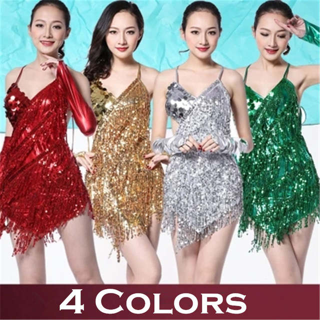 Online Shop Gold Salsa Dance Skirts American Tango Clothes Fringe