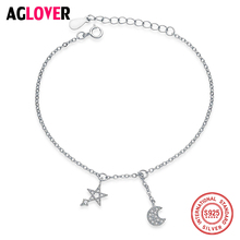 Pretty 925 Sterling Silver Star and Moon Charm Bracelets For Women Silver 925 Bracelet Jewelry Best Gift best quality luxuxious and nice silver jewelry gift noble purple silver charm series 925 real silver snowflake charms bracelet