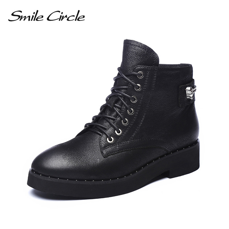 Smile Circle Handmade Cow Leather Ankle Boots Women Black Round Toe Lace-Up Shoes Botas Fashion metal chain Short Boots ladies casual lace up flat ankle boots fashion round toe plain cow leather boots for women female genuine leather autumn boots