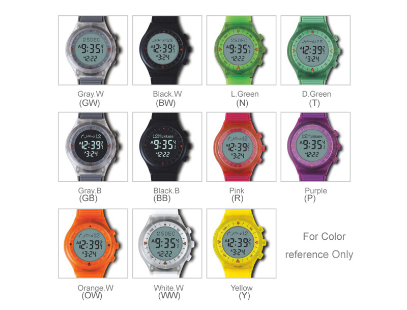 Neon Azan Watch for Muslim Kids with Automatic Qibla Direction 32mm 3 Bar ATM 6506 WY16 for Students
