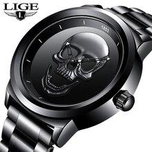 LIGE Reloj de calavera 3D para hombre, de cuarzo, de acero inoxidable, de negocios, resistente al agua, creativo, masculino