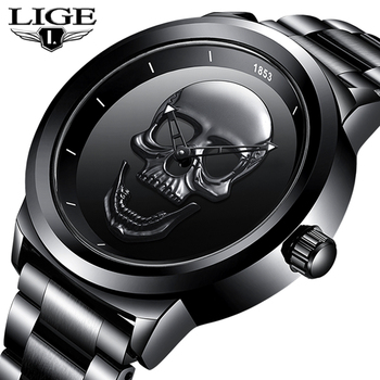Men 3D Skull Watch LIGE Top Brand Quartz Stainless Steel Watchs Men Fashion Business Waterproof Creative Clock Relogio masculino 2017 top new creative irregular shape quartz men watch women super simple industrial style watch fashion waterproof unisex clock