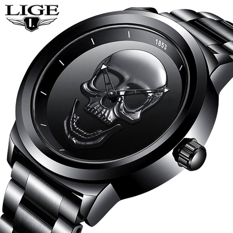 Reloj de calavera 3D para hombre, LIGE, marca superior de cuarzo, acero inoxidable, relojes de moda para hombre, reloj creativo a prueba de agua, reloj masculino