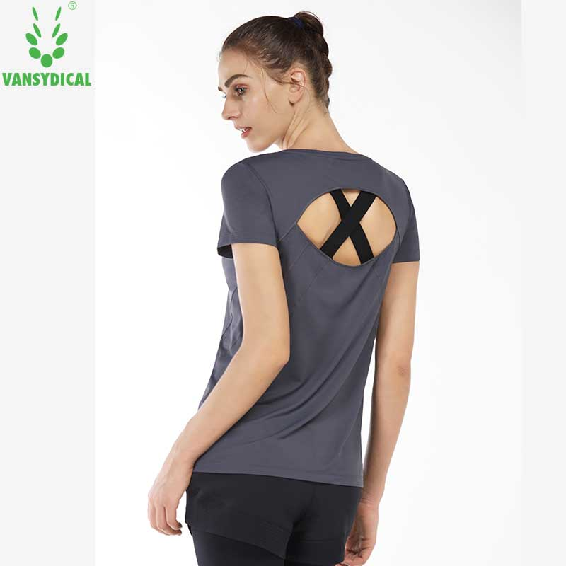 7bad5123e6b15 Yoga sex Shirt Short Sleeve Vansydical Gym Backless Breathable Fitness  Running Sports T-shirt women Workout Tops Ropa Mujer
