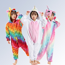 Купить с кэшбэком 22 New Sweet Cartoon Pegasus Panda Unicorn Children Boys Girls Pajamas Soft Flannel Animal Sleepwear Kids Blanket Onesie 4-12Y
