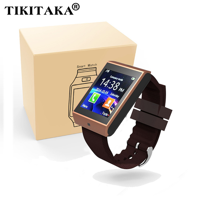 Bluetooth Смарт Часы Наручные Часы Синхронизация Notifier Поддержка SMI TF для iphone Android Samsung S5/S6/Note2/3 Смартфонов Smartwatch