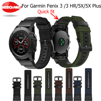 26mm Genuine Nylon+Leather Watchband for Garmin Fenix 5X Plus/3/3HR Quick Easy Fit Watch Band Stainless Steel Clasp Wrist Strap quick easy fit genuine leather watchband 26mm for garmin fenix 5x 3 3hr watch band stainless steel clasp strap wrist bracelet