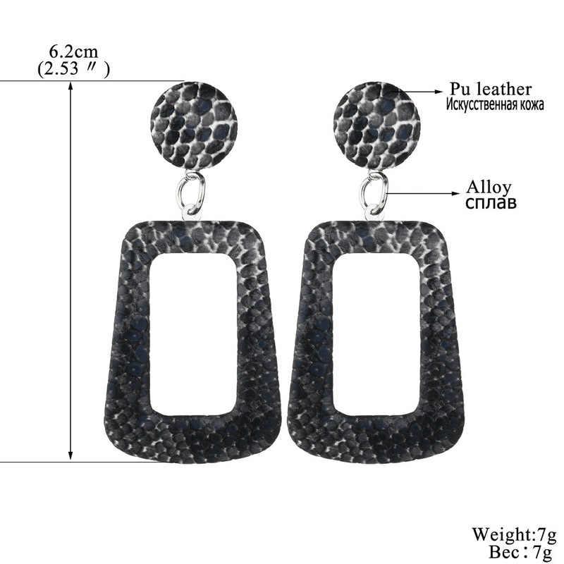 Nueva gran geométrico gota pendientes para las mujeres Vintage Punk pendientes grandes statement piel de serpiente joyería de fiesta