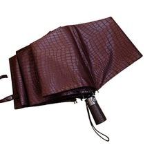 Фотография High Class PU Leather Handle Automatic Umbrella Luxury Crocodile Pattern Three Folding Anti-UV Rainy Sunny Umbrella Hot Sale
