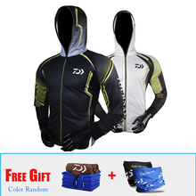 2018 3pcs/lot Daiwa Summer season Fishing Jacket Hooded Solar Safety Anti Uv Out of doors Sport Fishing Clothes With Free Towel Scarf