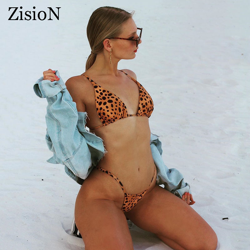 ZisioN <font><b>2018</b></font> <font><b>Sexy</b></font> Swimsuit Leopard Bikini Set <font><b>Women</b></font> Two-pieces <font><b>Swimwear</b></font> Thong Bather <font><b>Micro</b></font> Brazilian Swimming Suit Beach Wear Pad image