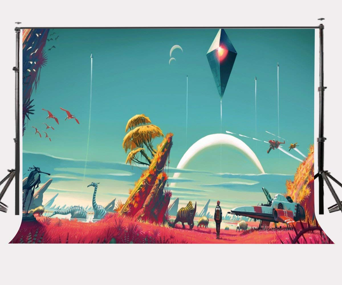 7x5ft Magic Cartoon Picture Backdrop Space Exploration Theme Game Photography Background No Man's Sky Game Poster Photo Props image