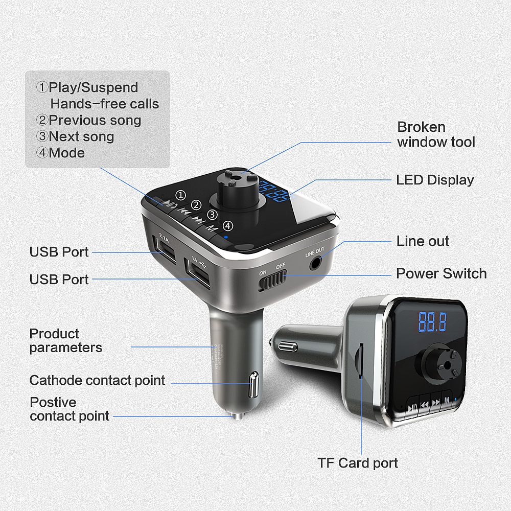 Reproductor de música del coche Coche MP3 Altavoz Bluetooth - Electrónica del Automóvil - foto 4
