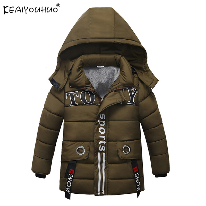 2018 Winter Boys Coats Children Outerwear Fashion Baby Boy Jackets Hooded Cartoon Cotton Long Sleeve Coat For Kids 2 3 4 5 Years