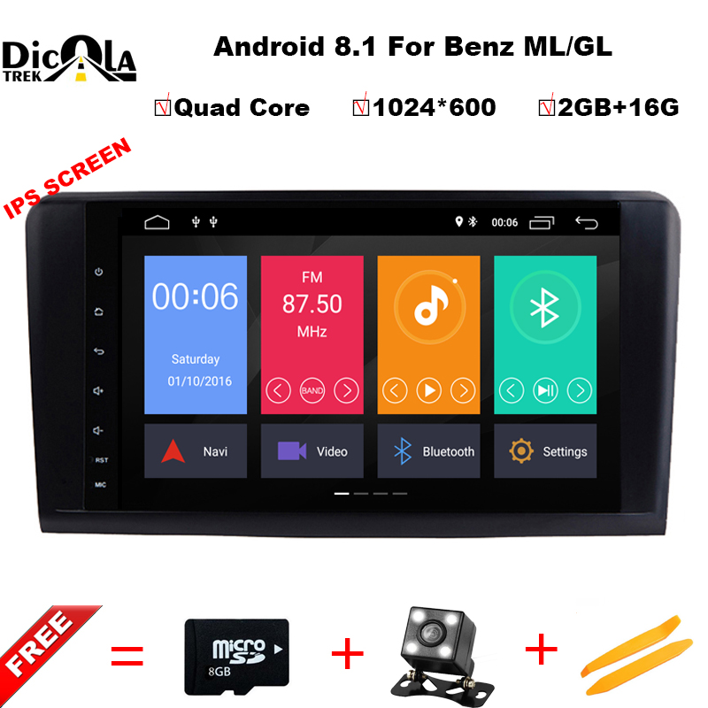 IPS HD Android 8.1 Quad Core CAR DVD player For Mercedes Benz GL ML CLASS W164 ML350 ML500 X164 GL320 GPS stereo radio 4G/WIFI цена