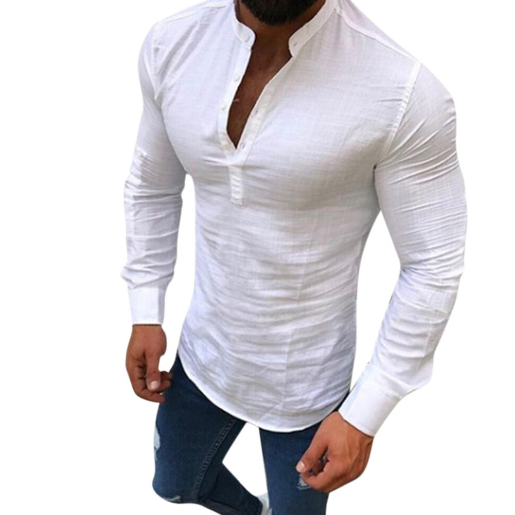 Missky Polo Shirt Men Casual Long Sleeve Solid Color Slim Fit Linen