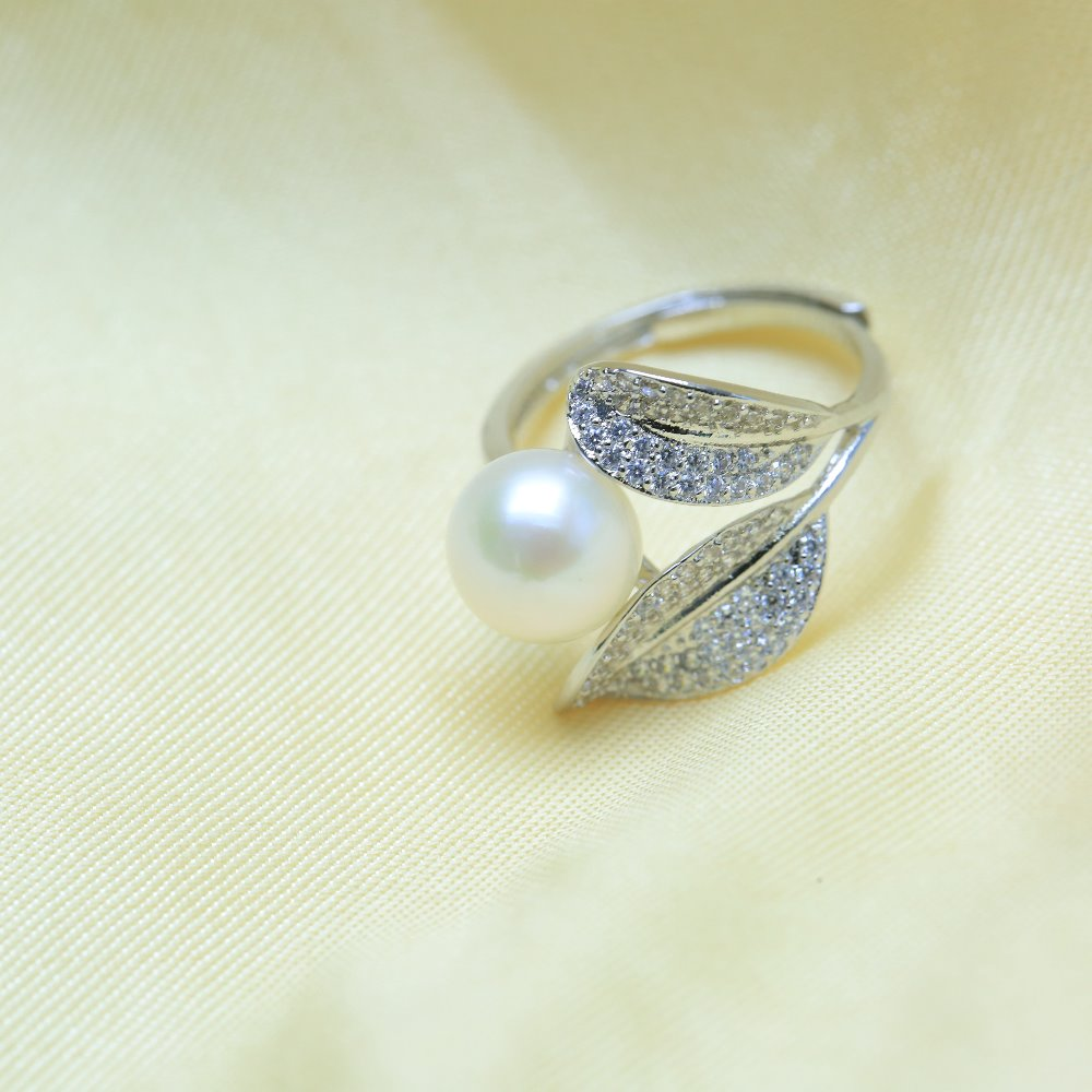 BaroqueOnly Romantic and Shiny Leaf Ring 9-10mm WHITE PINK BLUE Freshwater Pearl Best Christmas Gift for Woman