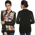 Mujeres Casual V Cuello de la Chaqueta de Manga Larga de Impresión Patchwork jaquetas de couro Mujeres Chaqueta abrigos Plus Tamaño S-3XL Del Otoño Del Resorte