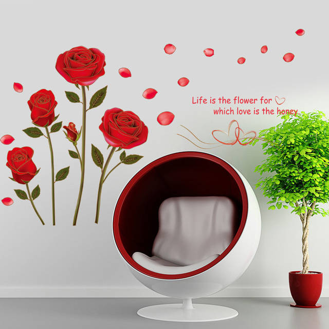 Online Shop Flying Red Rose Love Quotes Romantic Flower Wall Sticker