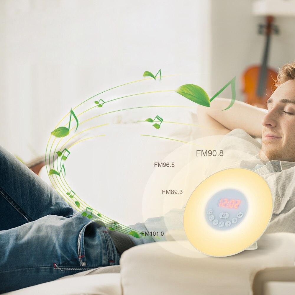 Wake Up Licht Wecker Sonnenaufgang/Sunset Simulation Digitale Uhr mit FM Radio 7 Farben Licht Klingt Funktion Touch control
