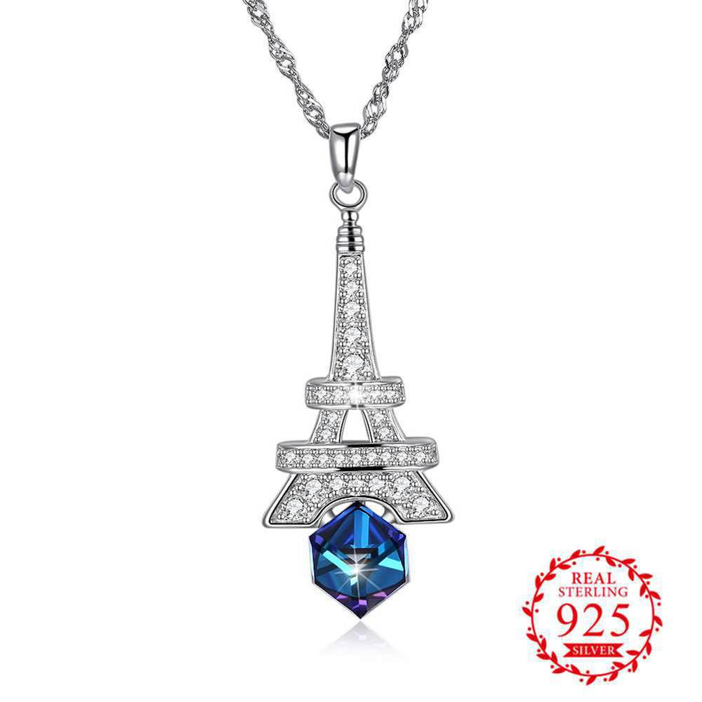 JEMMIN 925 Sterling Silver Tower+Square Austrian Crystal Shape Design Pendant Necklaces For Women Ladies Jewelry Cubic Zriconia цены