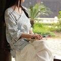 La primavera y el verano literaria retro rana floral sábanas de algodón blusas top