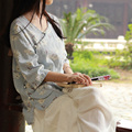 Spring and summer literary retro floral frog fresh cotton linen blouses top