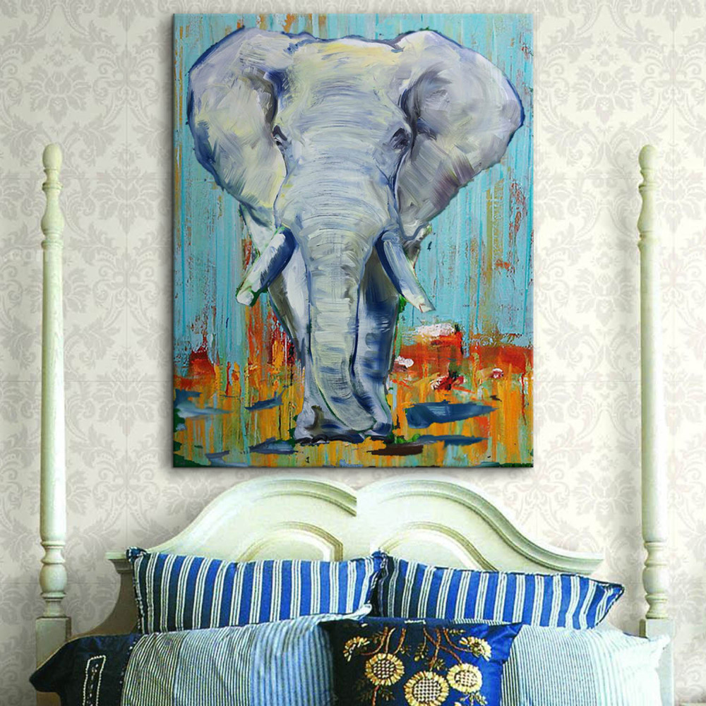 Hand Painted Abstract Canvas Oil Painting Elephant Animal Wall Art ...