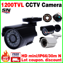 Free shipping HD 1/3cmos 1200TVL small Outdoor Waterproof ip66 CCTV Security ahdl Mini Camera 24led IR infrared Night Vision 30m