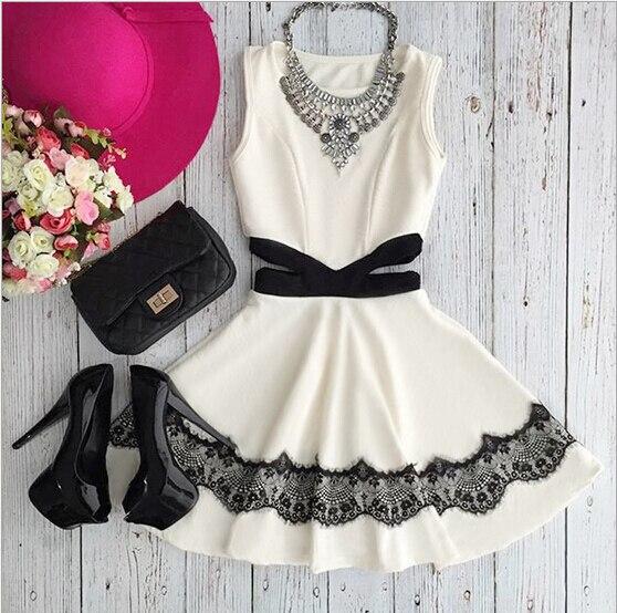Kawaii Милые шифоновые мини-платье 2016 Белый бальное платье Баян одежды vestiti Donna Элегантный Vestido corto Abiye Roupas Moda mujerax47