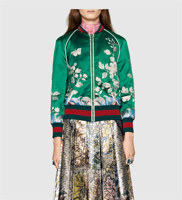 Italy Luxury Brand Designers Embroidered Silk Satin Bomber Jacket Women's  Multicolor Floral Butterfly Pattern Duchesse Jacket