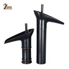 ZGRK ברזי אמבטיה אלגנטי שחור מפל כיור ברז ידית אחת חם וקר מים ברזי אגן מיקסר ברזים