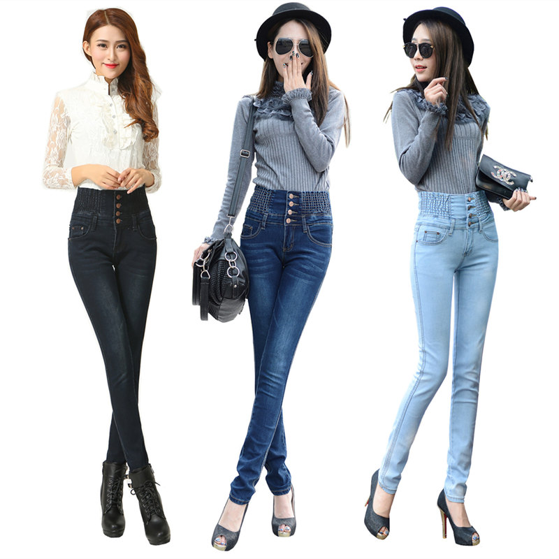 New Plus Size Autumn Winter American Apparel Style Jeans For Women High Waist Jeans Skinny Female Slim Black Pants Pencil Pants