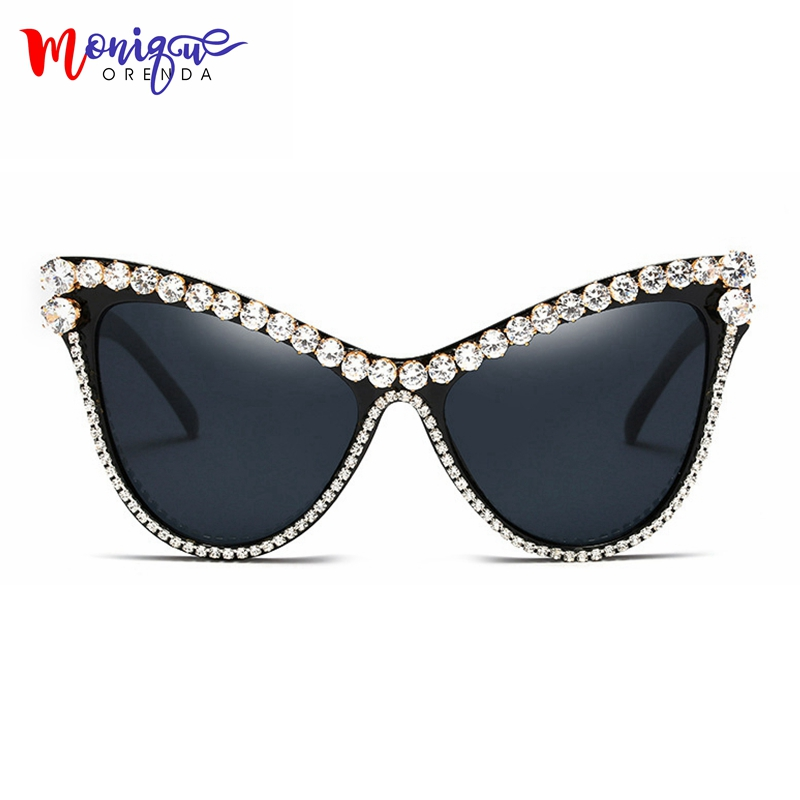 MONIQUE gran tamaño Rhinestone gafas de sol mujeres diseñador de lujo gafas de sol para mujer negro uv400