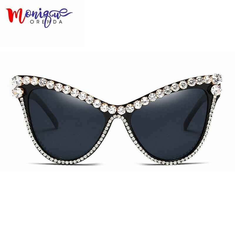 MONIQUE surdimensionné Strass lunettes de soleil Sexy Femmes Designer De Luxe Cristal lunettes de Soleil pour Femme noir uv400