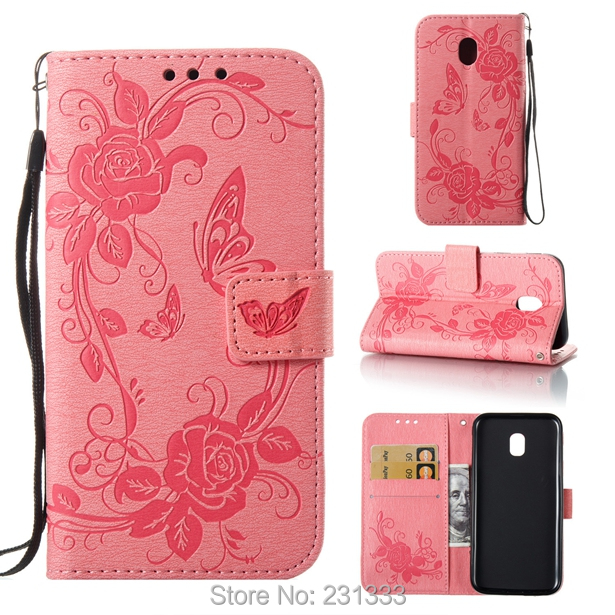 Strap Wallet Leather Pouch Case For Samsung Galaxy J3 2017 J330 Flower Cartoon Butterfly TPU Card Holder Stand Skin Cover 100PCS