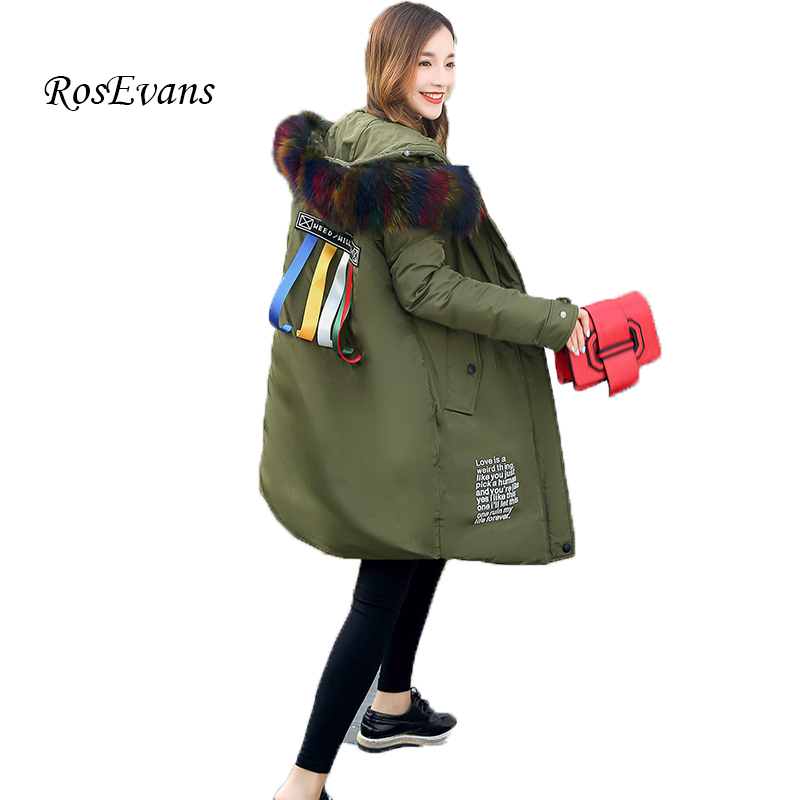 RosEvans 2017 New Large Genuine Raccoon Fur Collar Long Winter Women Coat Thicken Hooded Padded Ribbon Parkas Female Jacket B608 furlove new real large raccoon fur winter coat women jacket coats collar thicken warm padded cotton lady parkas female jacket