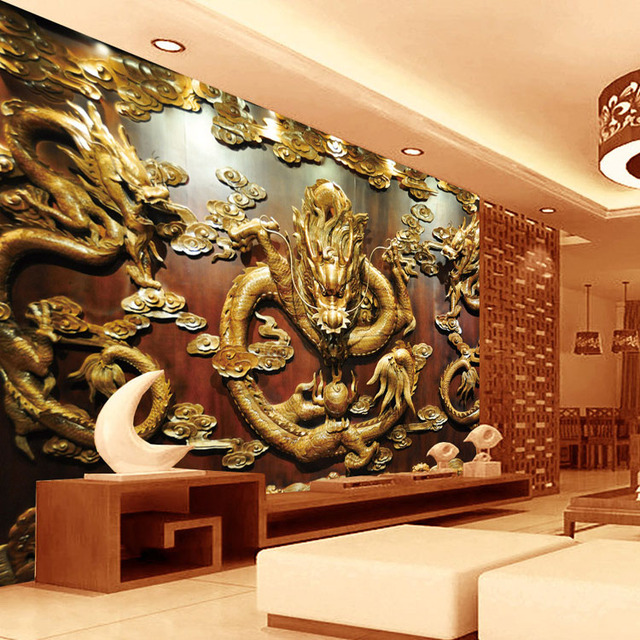 Buy custom 3d wallpaper wood carving for Chinese wall mural