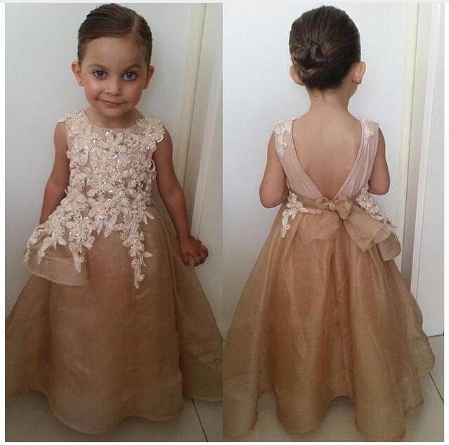 New Arrival Champagne Organza A-Line   Flower     Girl     Dresses   2019 Appliques Beaded Open Back Floor Length Kids
