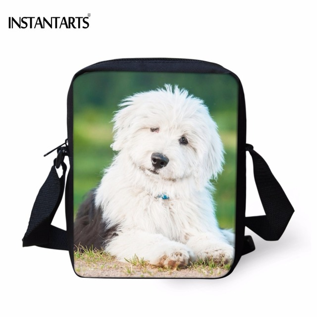 instantarts kindergarten mini messenger bags cute 3d dog old english