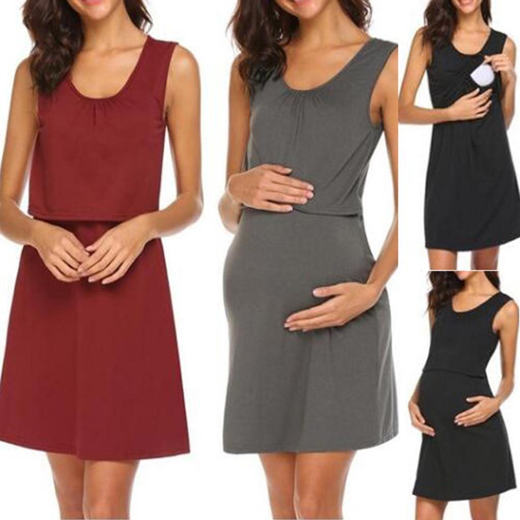 MUQGEW Maternity Dresses Pregnant Woman Clothes Women Casual O-Neck Sleeveless Maternity Nursing Breastfeeding Dress Vestidos
