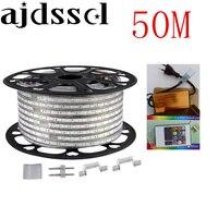 220V 110V Светодиодные ленты 5050 50 м 100 м IP67 Водонепроницаемый RGB двойной Цвет веревки для наружного освещения с РФ пульта дистанционного управле