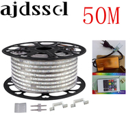 220V 110V LED Strip 5050 50m 100m IP67 Waterproof RGB Dual Color Rope lighting for outdoor with RF Remote controller by DHL