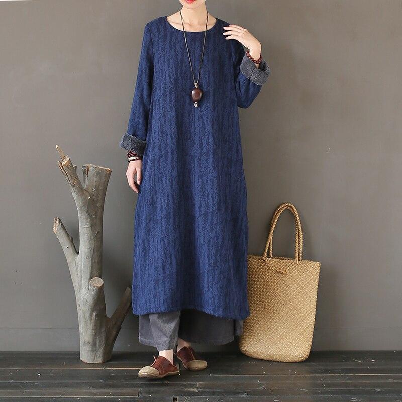 Johnature 2019 Autumn New Women Vintage Dress Fleece Warm Robe O Neck Jacquard Long Sleeve Loose